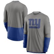 Wholesale Cheap New York Giants Nike Sideline Player Performance Long Sleeve T-Shirt Heathered Gray Royal