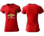 Wholesale Cheap Women's Manchester United Blank Red Home Soccer Club Jersey