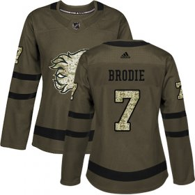 Wholesale Cheap Adidas Flames #7 TJ Brodie Green Salute to Service Women\'s Stitched NHL Jersey