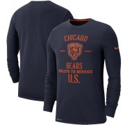 Wholesale Cheap Men's Chicago Bears Nike Navy 2019 Salute to Service Sideline Performance Long Sleeve Shirt