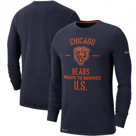 Wholesale Cheap Men\'s Chicago Bears Nike Navy 2019 Salute to Service Sideline Performance Long Sleeve Shirt