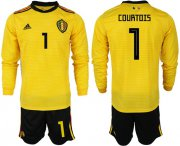 Wholesale Cheap Belgium #1 Courtois Away Long Sleeves Soccer Country Jersey