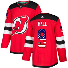 Wholesale Cheap Adidas Devils #9 Taylor Hall Red Home Authentic USA Flag Stitched NHL Jersey