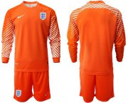 Wholesale Cheap England Blank Orange Long Sleeves Goalkeeper Soccer Country Jersey