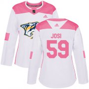 Wholesale Cheap Adidas Predators #59 Roman Josi White/Pink Authentic Fashion Women's Stitched NHL Jersey