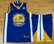 Wholesale Cheap Men's Golden State Warriors #35 Kevin Durant Royal Blue 2017-2018 Nike Swingman Stitched NBA Jersey With Shorts