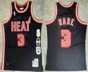 Wholesale Cheap Men's Miami Heat #3 Dwyane Wade Black Retirement Edition Hardwood Classics Soul AU Stitched Throwback Jersey