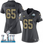 Wholesale Cheap Nike Eagles #65 Lane Johnson Black Super Bowl LII Women's Stitched NFL Limited 2016 Salute to Service Jersey