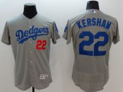 Wholesale Cheap Dodgers #22 Clayton Kershaw Grey Flexbase Authentic Collection Stitched MLB Jersey