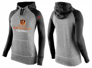 Wholesale Cheap Women's Nike Cincinnati Bengals Performance Hoodie Grey & Black