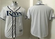 Wholesale Cheap Rays Blank White Cool Base Stitched Youth MLB Jersey