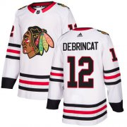 Wholesale Cheap Adidas Blackhawks #12 Alex DeBrincat White Road Authentic Stitched Youth NHL Jersey