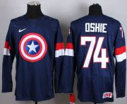 Wholesale Cheap Olympic Team USA #74 T. J. Oshie Navy Blue Captain America Fashion Stitched NHL Jersey