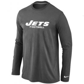 Wholesale Cheap Nike New York Jets Authentic Font Long Sleeve T-Shirt Dark Grey