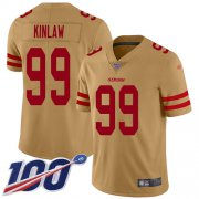 Wholesale Cheap Nike 49ers #99 Javon Kinlaw Gold Youth Stitched NFL Limited Inverted Legend 100th Season Jersey
