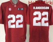 Wholesale Cheap Men's Alabama Crimson Tide #22 Ryan Anderson Red 2016 BCS patch College Football Nike Limited Jersey