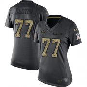 Wholesale Cheap Nike Jets #77 Mekhi Becton Black Women's Stitched NFL Limited 2016 Salute to Service Jersey