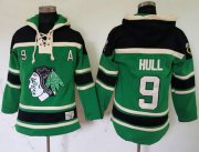 Wholesale Blackhawks #9 Bobby Hull Green St. Patrick's Day McNary Lace Hoodie Stitched NHL Jersey