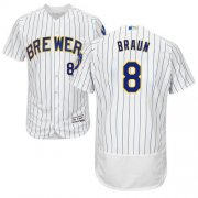Wholesale Cheap Brewers #8 Ryan Braun White Strip Flexbase Authentic Collection Stitched MLB Jersey