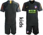 Wholesale Cheap Atletico Madrid Blank Black Goalkeeper Kid Soccer Club Jersey