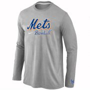 Wholesale Cheap New York Mets Long Sleeve MLB T-Shirt Grey