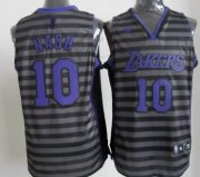 Wholesale Cheap Los Angeles Lakers #10 Steve Nash Gray With Black Pinstripe Jersey