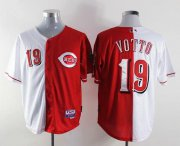 Wholesale Cheap Reds #19 Joey Votto Red/White Split Fashion Stitched MLB Jersey