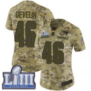 Wholesale Cheap Nike Patriots #46 James Develin Camo Super Bowl LIII Bound Women's Stitched NFL Limited 2018 Salute to Service Jersey