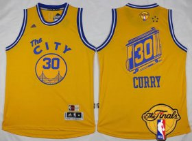 Wholesale Cheap Men\'s Golden State Warriors #30 Stephen Curry 2015-16 Retro Yellow 2017 The NBA Finals Patch Jersey
