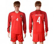 Wholesale Cheap Portugal #4 Veloso Home Long Sleeves Soccer Country Jersey