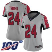 Wholesale Cheap Nike Falcons #24 A.J. Terrell Silver Women's Stitched NFL Limited Inverted Legend 100th Season Jersey