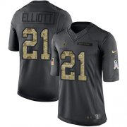Wholesale Cheap Nike Cowboys #21 Ezekiel Elliott Black Men's Stitched NFL Limited 2016 Salute To Service Jersey