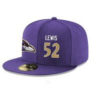 Wholesale Cheap Baltimore Ravens #52 Ray Lewis Snapback Cap NFL Player Purple with Gold Number Stitched Hat