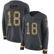 Wholesale Cheap Nike Rams #18 Cooper Kupp Anthracite Salute to Service Women's Stitched NFL Limited Therma Long Sleeve Jersey
