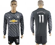 Wholesale Cheap Manchester United #11 Martial Black Long Sleeves Soccer Club Jersey