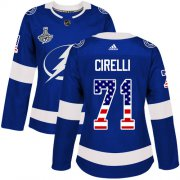 Cheap Adidas Lightning #71 Anthony Cirelli Blue Home Authentic USA Flag Women's 2020 Stanley Cup Champions Stitched NHL Jersey