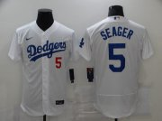 Wholesale Cheap Men's Los Angeles Dodgers #5 Corey Seager White Stitched MLB Flex Base Jersey