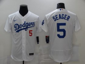 Wholesale Cheap Men\'s Los Angeles Dodgers #5 Corey Seager White Stitched MLB Flex Base Jersey