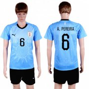 Wholesale Cheap Uruguay #6 A.Pereira Home Soccer Country Jersey