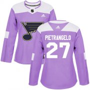 Wholesale Cheap Adidas Blues #27 Alex Pietrangelo Purple Authentic Fights Cancer Women's Stitched NHL Jersey