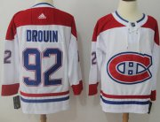 Wholesale Cheap Adidas Canadiens #92 Jonathan Drouin White Road Authentic Stitched NHL Jersey