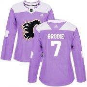 Wholesale Cheap Adidas Flames #7 TJ Brodie Purple Authentic Fights Cancer Women's Stitched NHL Jersey