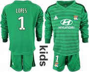 Wholesale Cheap Lyon #1 Lopes Green Goalkeeper Long Sleeves Kid Soccer Club Jersey