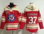 Wholesale Cheap Nationals #37 Stephen Strasburg Red Sawyer Hooded Sweatshirt MLB Hoodie