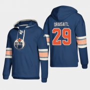 Wholesale Cheap Edmonton Oilers #29 Leon Draisaitl Royal adidas Lace-Up Pullover Hoodie