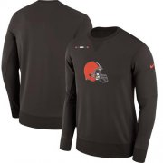 Wholesale Cheap Men's Cleveland Browns Nike Brown Sideline Team Logo Performance Sweatshirt
