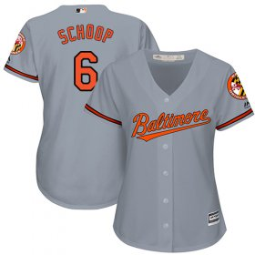 Wholesale Cheap Orioles #6 Jonathan Schoop Grey Road Women\'s Stitched MLB Jersey