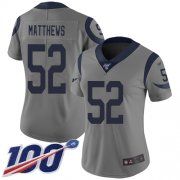 Wholesale Cheap Nike Rams #52 Clay Matthews Gray Women's Stitched NFL Limited Inverted Legend 100th Season Jersey