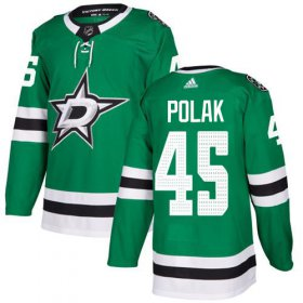 Cheap Adidas Stars #45 Roman Polak Green Home Authentic Stitched NHL Jersey