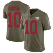 Wholesale Cheap Nike Giants #10 Eli Manning Olive Youth Stitched NFL Limited 2017 Salute to Service Jersey